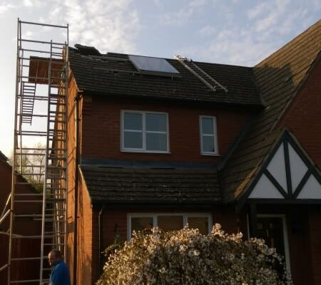 Day one - first panel on roof - front view.